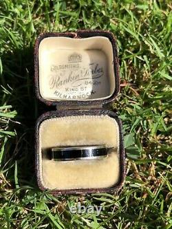 Vintage Heavy Chunky 9ct Yellow Gold Black Enamel Band Ring