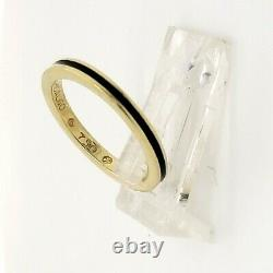 Vintage Hidalgo Black enamel 18k yellow gold 2 mm narrow stackable ring sz 4