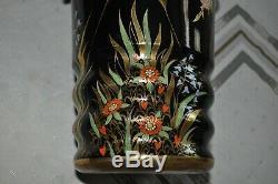 Vintage Large CARLTON WARE Spider Web Black Porcelain & Enamel Vase, 11 1/2