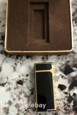 Vintage Mark Cross Italy Gold Plated Black Enamel Lighter