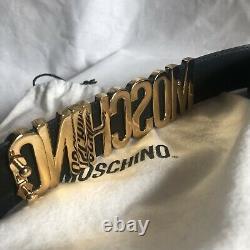 Vintage Moschino gold and black enamel belt
