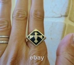 Vintage Native American Indian signed 14k gold black enamel raven eagle ring 9g