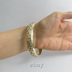 Vintage Red Blue Green Black Enameled Bangle Bracelet 14K Yellow Gold 19.08 Gram