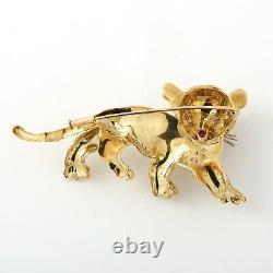 Vintage Tiger Brooch, 18K Yellow Gold, Diamonds/Rubies/Black Enamel