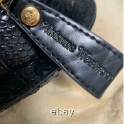 Vivienne Westwood Bag Heart Black Women Enamel Croco Gold Tag Fashion