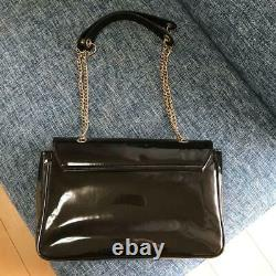 Vivienne Westwood Chain Shoulder Bag Enamel Orb Black Gold Original Japan
