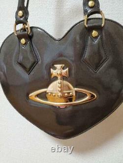 Vivienne Westwood Enamel Heart Bag Handbag Black Gold Big Orb