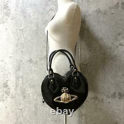 Vivienne Westwood Heart Shape Shoulder Bag Orb Motif Black Enamel Gold glitter