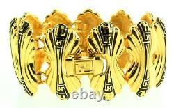 Vtg Couture FENDI Wide Logo Black Enamel Gold Plated Panel Link BRACELET
