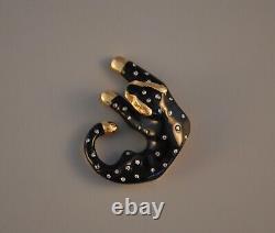 Vtg Slc 14k Solid Gold Black Leopard Natural Diamond Cat Pendant Enamel Large