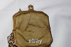 WHITING AND DAVIS FLAT MESH ENAMEL GOLD TONE FRAME BAG c. 1800's