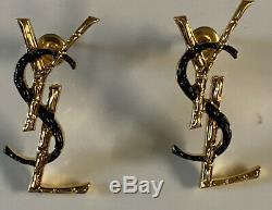Ysl Saint Laurent Signed Gold Black Enamel Logo Pierced Earrings
