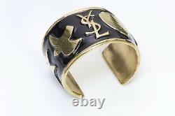 Yves Saint Laurent YSL Gold Plated Black Enamel Logo Heart Star Cuff Bracelet