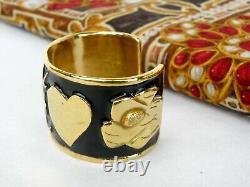 Yves Saint Laurent YSL Gold Plated Black Enamel Logo Heart bangle
