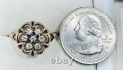 0.20 Ct 14k Or Jaune Diamant Et Noir Émanel Fleur Bague Taille 7