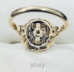 0.20 Ct 14k Yellow Gold Diamond & Black Enamel Flower Ring Taille 7