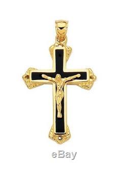 1 3/4 Onyx En Émail Noir Crucifix Croix Pendentif Charm Or Jaune 14k Réel
