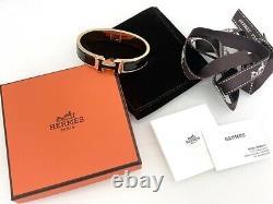 100% Authentic Rare Hermes CLIC Clac Rose Or Noir Émail H Bracelet Bangle Pm