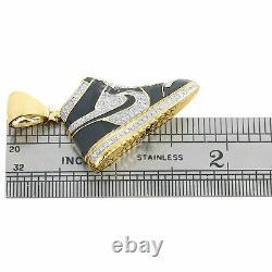 10k Jaune Or Sur Émail Diamant Noir Air Jordan Chaussures Pendentif 1.75 Charm