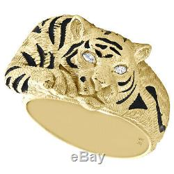 10k Or Jaune Marquise Diamant Tiger / Black Panther Émail Pinky Anneau 0,05 Ct