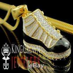 10k Or Jaune Sur Argent En Émail Noir Air Jordan Chaussures Pendentif 2 Diamant Charm