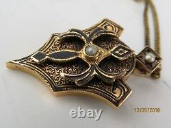 14k Antique Victorian Or Graine Perle Pendentif En Émail Noir