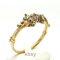 14k Gold Italy 3d En Émail Noir Tiger Eyes Emerald Bracelet 13 Grammes 7in