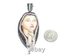 14k Or Blanc 9.00ct Rond Taillé Blanc / Black Diamond Saint Mary Émail Pendentif