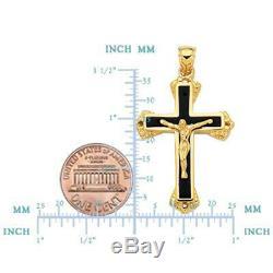 14k Or Jaune Et Émail Noir Crucifix Croix Hommes Pendentif 25 X 40 MM