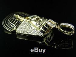 14k Or Jaune Pharaon Égyptien Émail Noir 2.5 Pendentif Diamant Charm 1.0ct