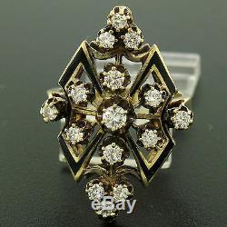 14k Or Jaune Vintage. 90ctw Diamant Rond En Émail Noir Marquise Bague Cocktail