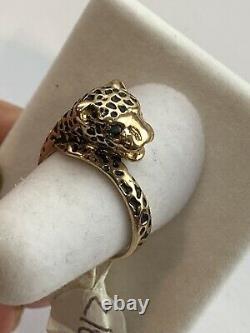 14k Or Noir Émail Panther Leopard Vert Émeraude Taille Yeux Ring 6 Signé Jed