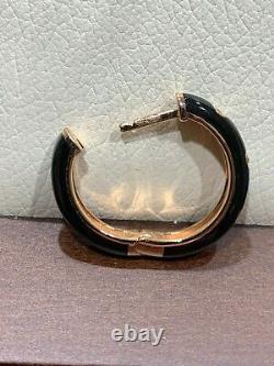 14k Or Rose Diamant Et Émail Noir Huggie Boucles D'oreilles Hoop Retails 1075 $