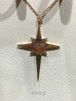 14k Rose Gold Diamond Et Black Enamel Star Pendentif Collier Au Détail 820 $