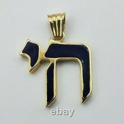 14k Solid Yellow Gold Jewish Chai For Pendentif Black Enamel 30mm X 23mm 3.8 Grammes