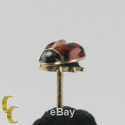 14k Vintage Or Jaune Lady Bug Broche Noire Et Rouge Émail Allemagne