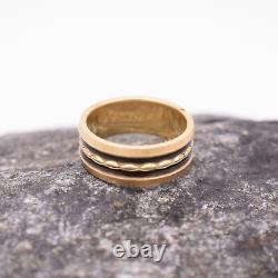 14k Yellow Gold Incised Black Enamel Wide Wedding Band/ring Taille 5,75
