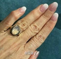 14k Yellow Gold Moonstone Cabochon Ring W Black Enamel Ts300 1 20