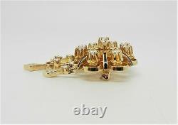 14k Yellow Gold Vintage Black Enamel Diamond Pin Broche Rare Find Lb2765