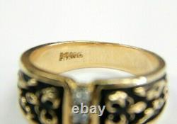 14kt Yellow Gold Vintage Trois. Bague Diamant 02ct Avec Émail Noir, Taille 6.5