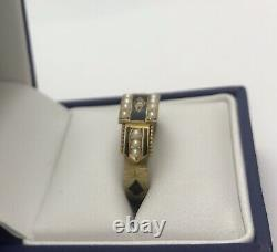 15ct Or Antique Émail Noir, Diamant Et Perle De Graines Taille O Deuil Bague