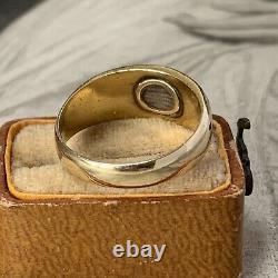 15ct Or Antique Émail Noir Perle Deuil & Antique Bague Box Uk L 1/2