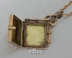 1880 Antique Victorian Gold Floral Noir Émail Médaillon Pendentif Collier E8