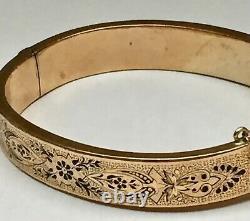 1890s Victorian Era 14k Gold Hollow Bangle À Charnières Bracelet Avec Émail Noir