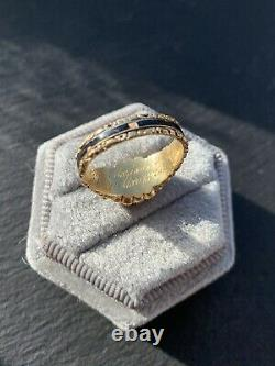 18ct Yellow Gold Antique Pearl Locket Front Mourning Band Ring Black Émail