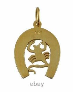 18k Yellow Gold Blue Émail Lucky Horseshoe Scorpion Pendentif Charm Horse Shoe
