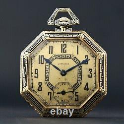 1918 Longines 14k Yellow Gold & Black Enamel Art Déco Octagonal Pocket Watch