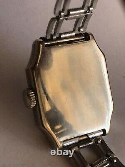 1920's-30's Elgin Art Deco Black Enamel Etched Cas Man`s Watch 14k Or Rempli