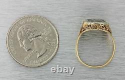 1929 Antique Art Deco 10k Rose Massif Or Noir Enamel School Emblem Ring