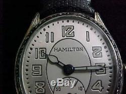 1930 Hamilton Ovale Blanc Gravé Gf Belle 2tone Cadran Émail Noir Lunette
